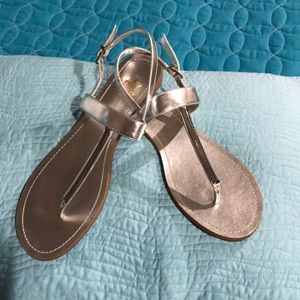 BCBG - Silver flat sandals with adjustable straps